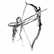 (sfx) Draw bow and fire
